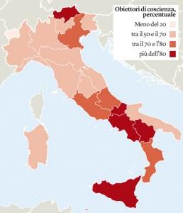 Percentuale di obiettori nelle varie regioni italiane