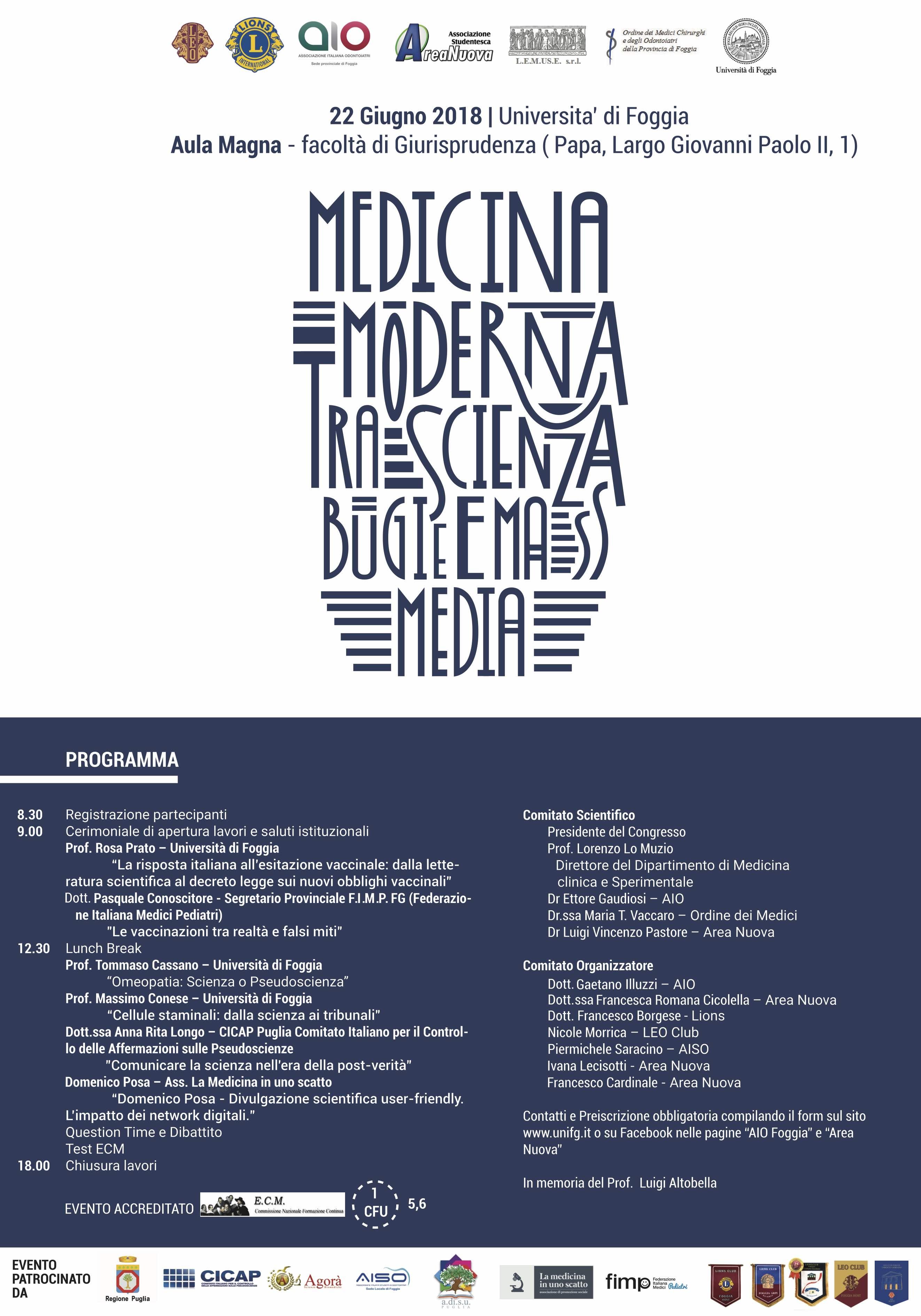 Medicina Moderna fra scienza bugie e mass media foggia 14 giugno 2018